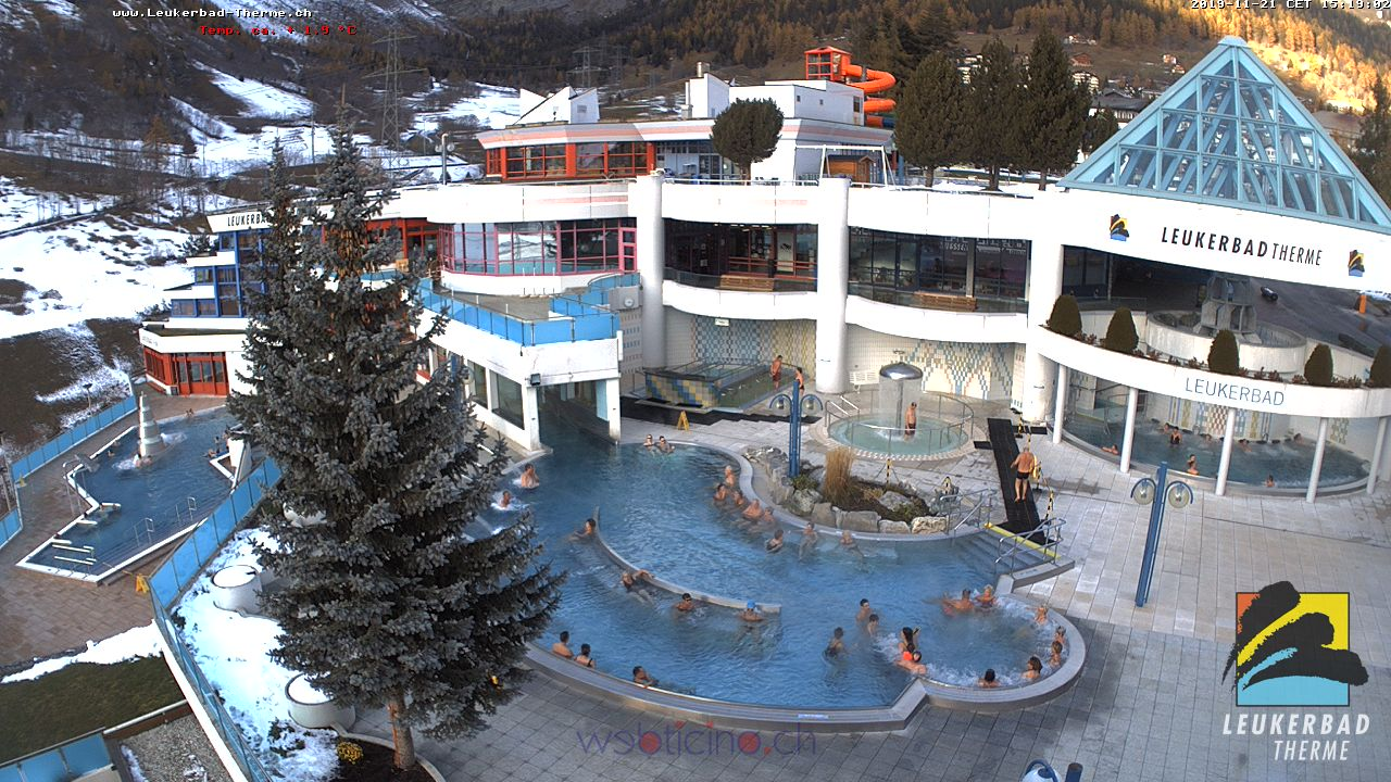 Leukerbad Live Cam, Switzerland – Thermal center Burgerbad